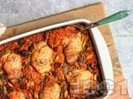 Рецепта Печени пилешки бутчета с жасминов ориз, бяло вино, боровинки и сос с фъстъчено масло, чили и мед в тава на фурна
